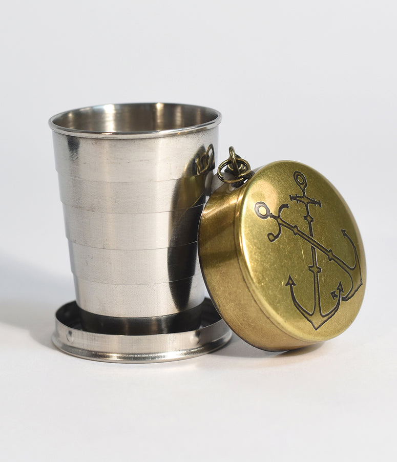 Nautical Anchors Portable Steel Shot Glass