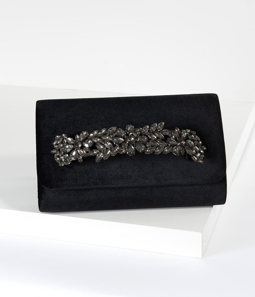 Black Velvet & Smoke Crystal Clutch
