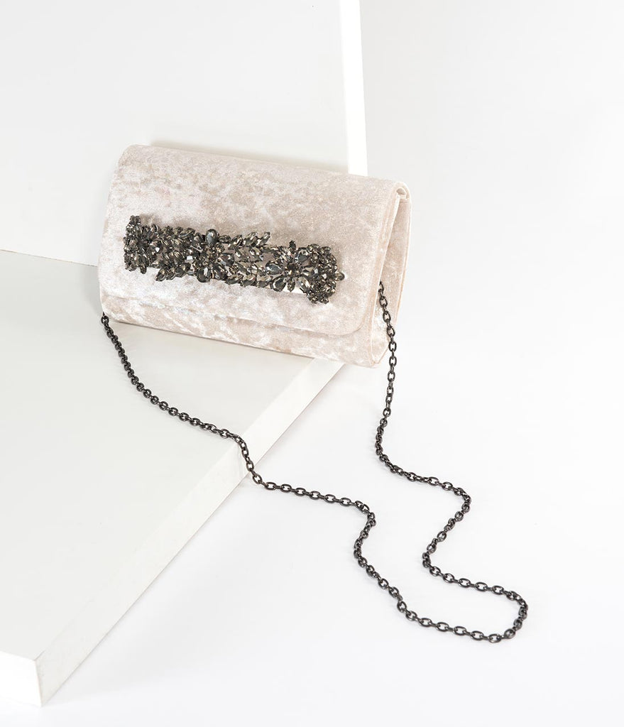 Iridescent Beige Velvet & Smoke Crystal Clutch