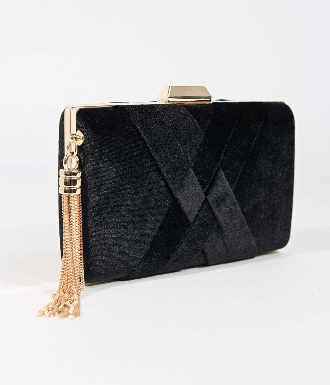 1950s Handbags, Purses, and Evening Bag Styles Vintage Style Black Velvet  Gold Hard Clutch $72.00 AT vintagedancer.com