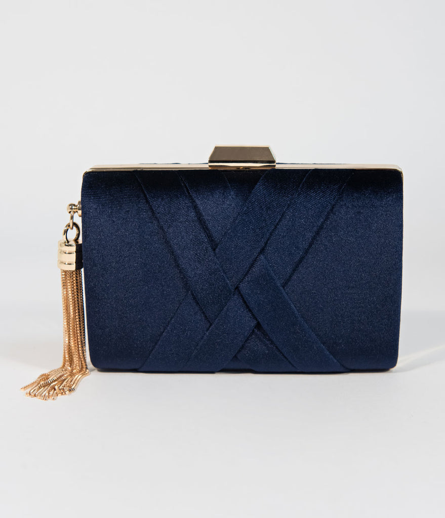 Vintage Style Navy Velvet & Gold Hard Clutch
