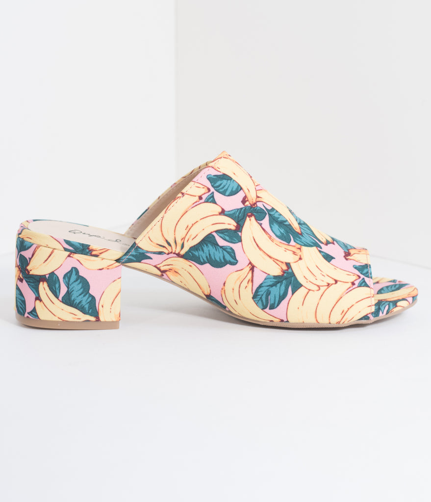 Retro Style Pink & Banana Print Slip On Mule Block Heels