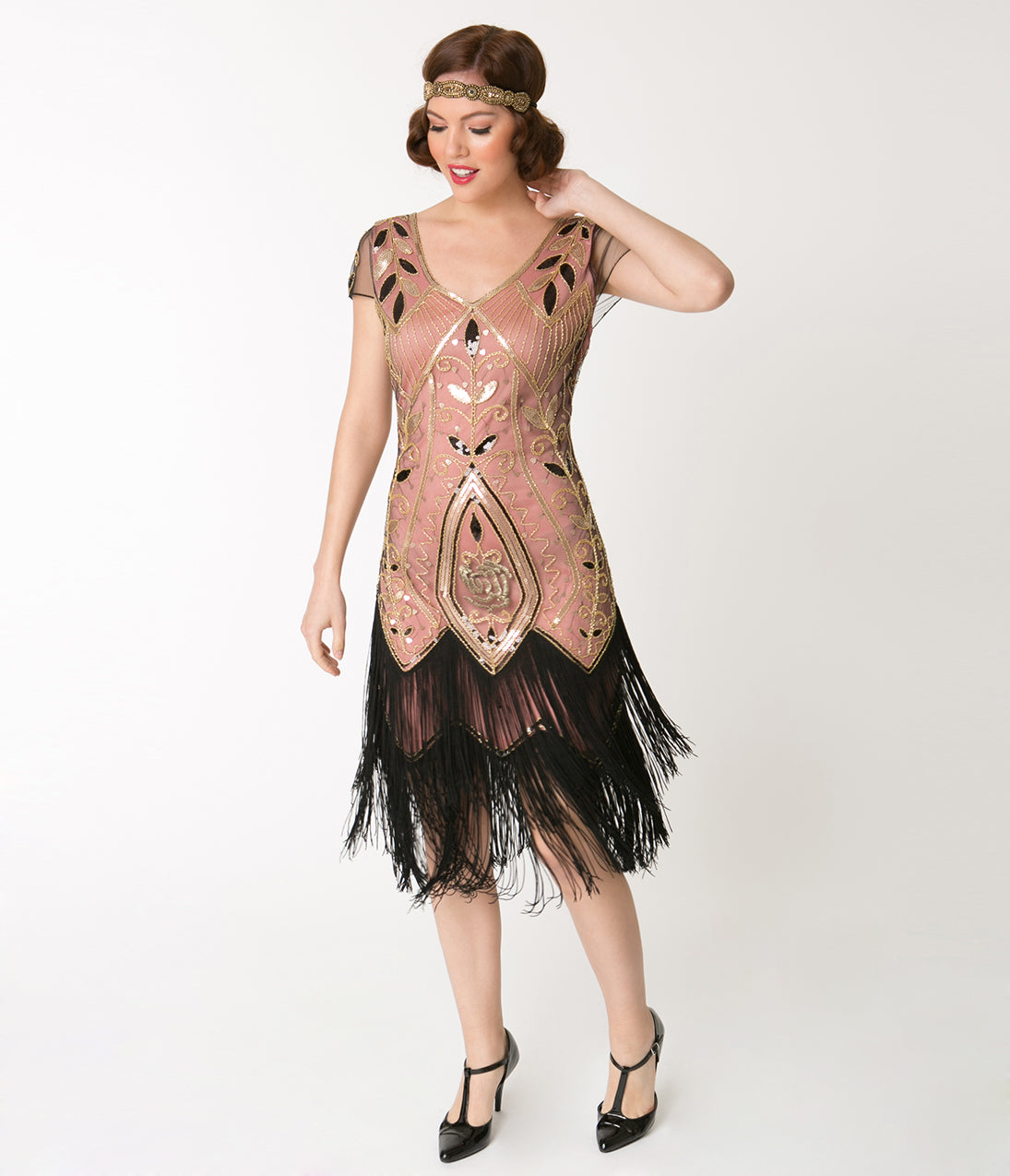 Vintage Evening Dresses and Formal Evening Gowns Unique Vintage 1920S Gold Rose  Pink Noele Fringe Flapper Dress $68.00 AT vintagedancer.com