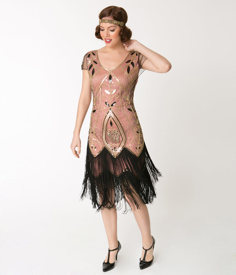 Unique Vintage 1920s Gold Rose & Pink Noele Fringe Flapper Dress