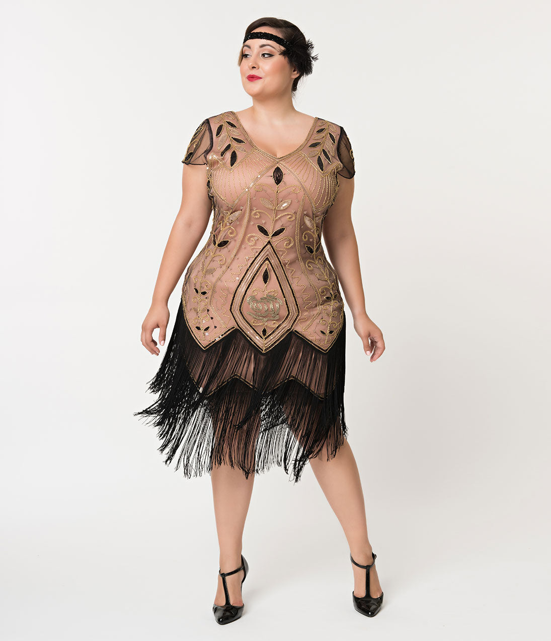 1920s Costumes: Flapper, Great Gatsby, Gangster Girl Unique Vintage Plus Size 1920S Gold Rose  Pink Noele Fringe Flapper Dress $48.00 AT vintagedancer.com