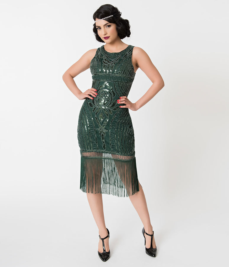 Unique Vintage Emerald Green Deco Beaded Victoire Fringe Flapper Dress