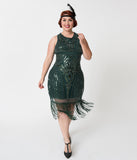 Unique Vintage Plus Size Emerald Green Deco Beaded Victoire Fringe Flapper Dress