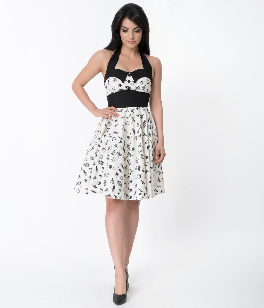 Rockabilly Dresses | Rockabilly Clothing | Viva Las Vegas 1950S Style Ivory  Black Space Print Ashley Halter Top Swing Dress $68.00 AT vintagedancer.com