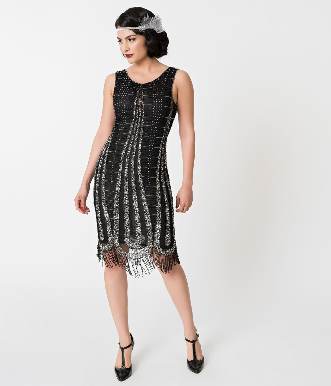 1920s Costumes: Flapper, Great Gatsby, Gangster Girl Unique Vintage Black  Silver Beaded Fringe Romane Cocktail Dress $60.00 AT vintagedancer.com