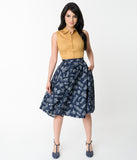Navy Blue & White Blueprint Cotton Circle Skirt
