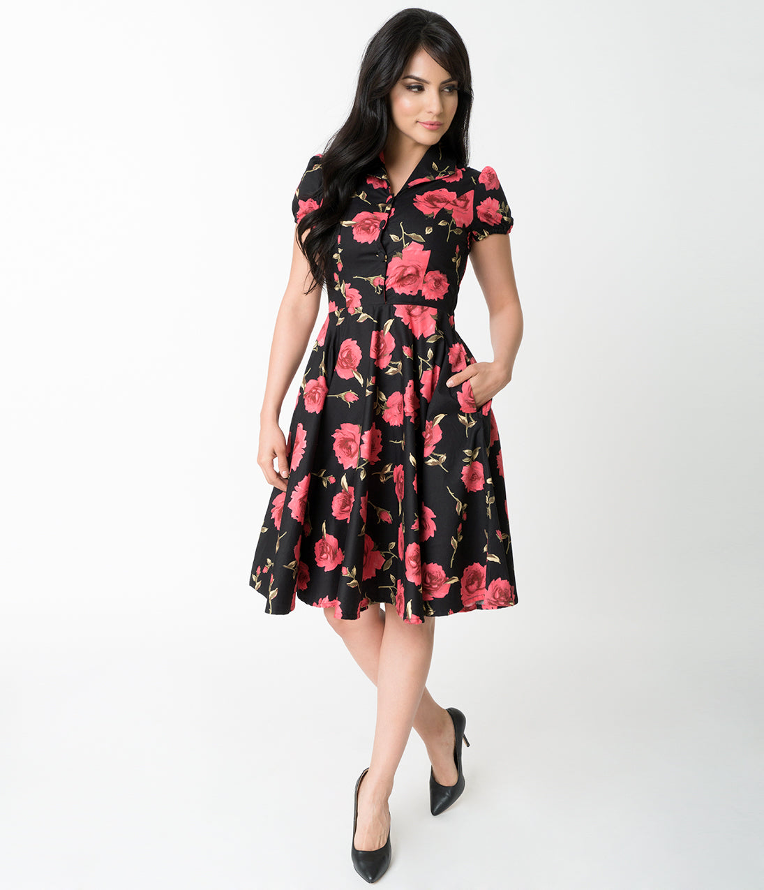 1950s Swing Dresses | 50s Swing Dress 1950S Style Black  Red Rose Print Mona Cotton Swing Dress $68.00 AT vintagedancer.com