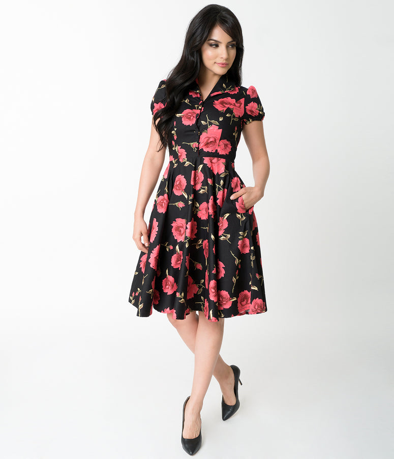 1950s Style Black & Red Rose Print Mona Cotton Swing Dress