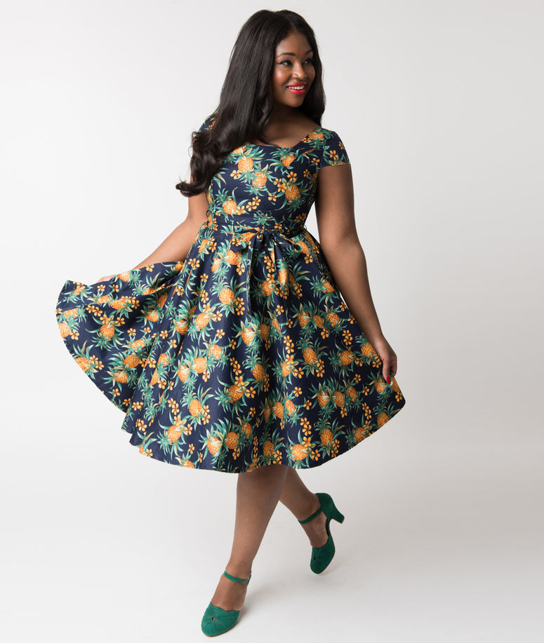 Plus Size Navy Blue & Pineapple Print Cap Sleeve Anna Cotton Swing Dress