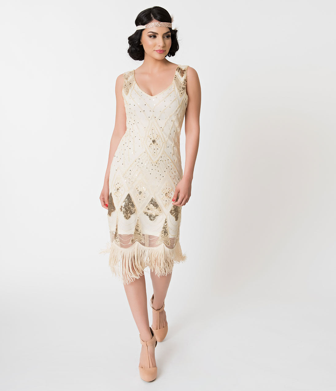 1920s Evening Gowns by Year Unique Vintage Ivory  Gold Sequin Lina Fringe Flapper Dress $36.00 AT vintagedancer.com