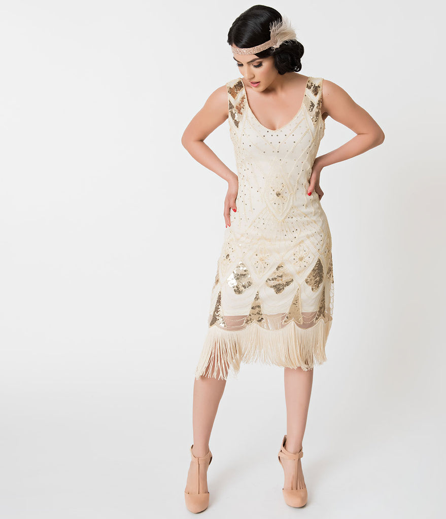 Unique Vintage Ivory & Gold Sequin Lina Fringe Flapper Dress