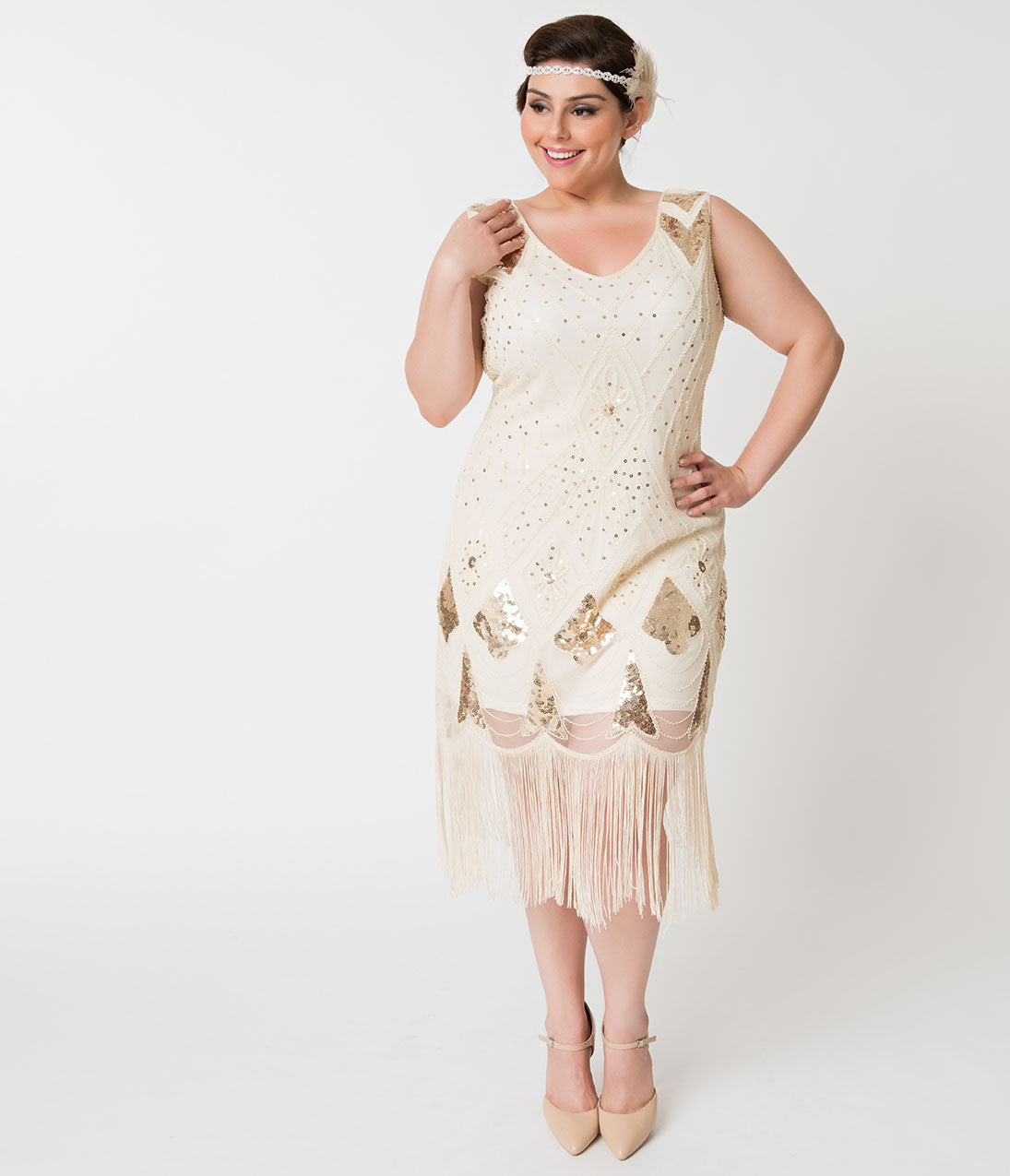 1920s Evening Gowns by Year Unique Vintage Plus Size Ivory  Gold Sequin Lina Fringe Flapper Dress $27.00 AT vintagedancer.com