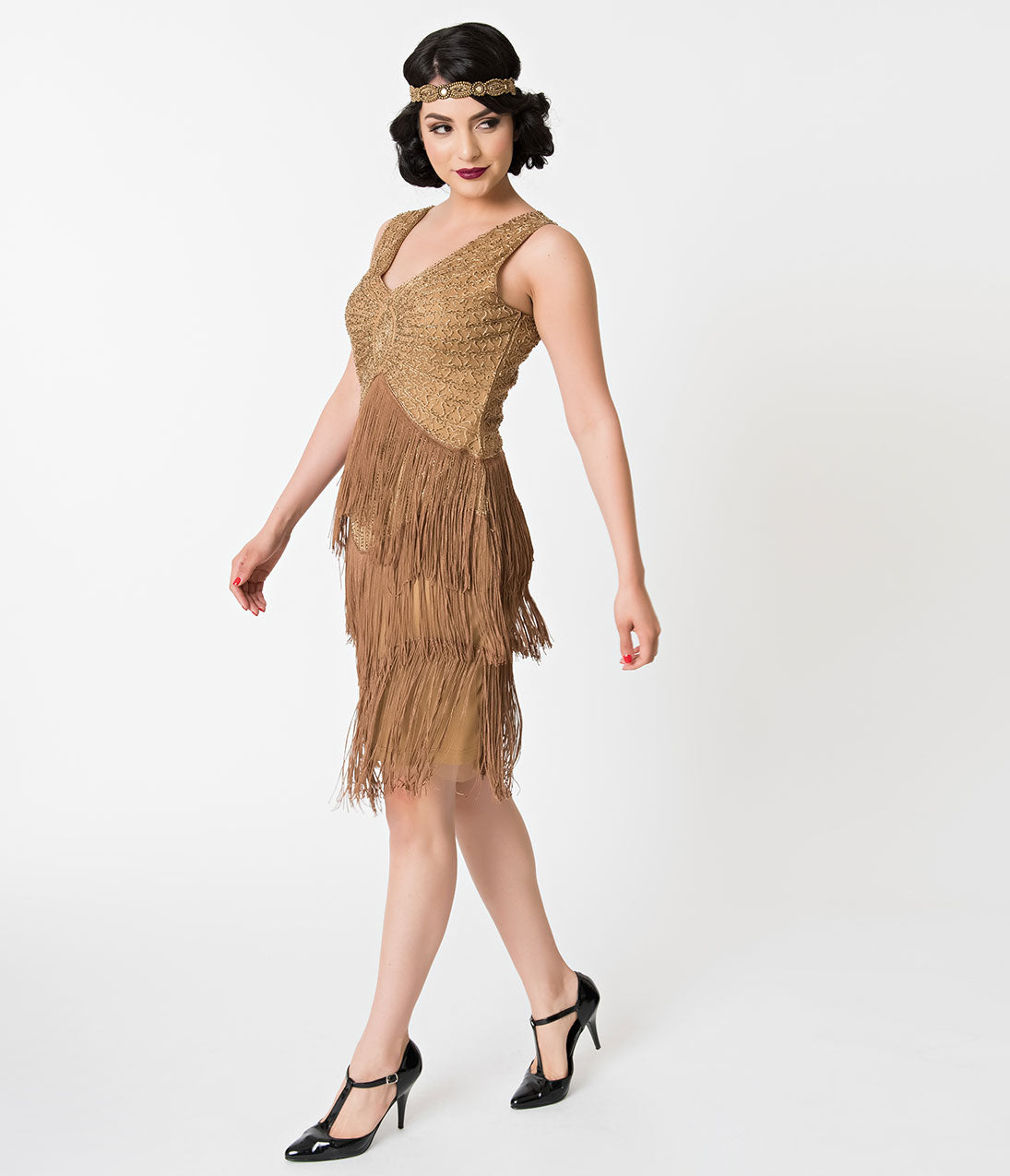 Flapper Dresses & Quality Flapper Costumes Unique Vintage 1920S Antique Gold Beaded Renee Fringe Cocktail Dress $68.00 AT vintagedancer.com