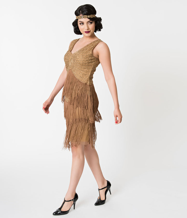 Unique Vintage 1920s Antique Gold Beaded Renee Fringe Cocktail Dress
