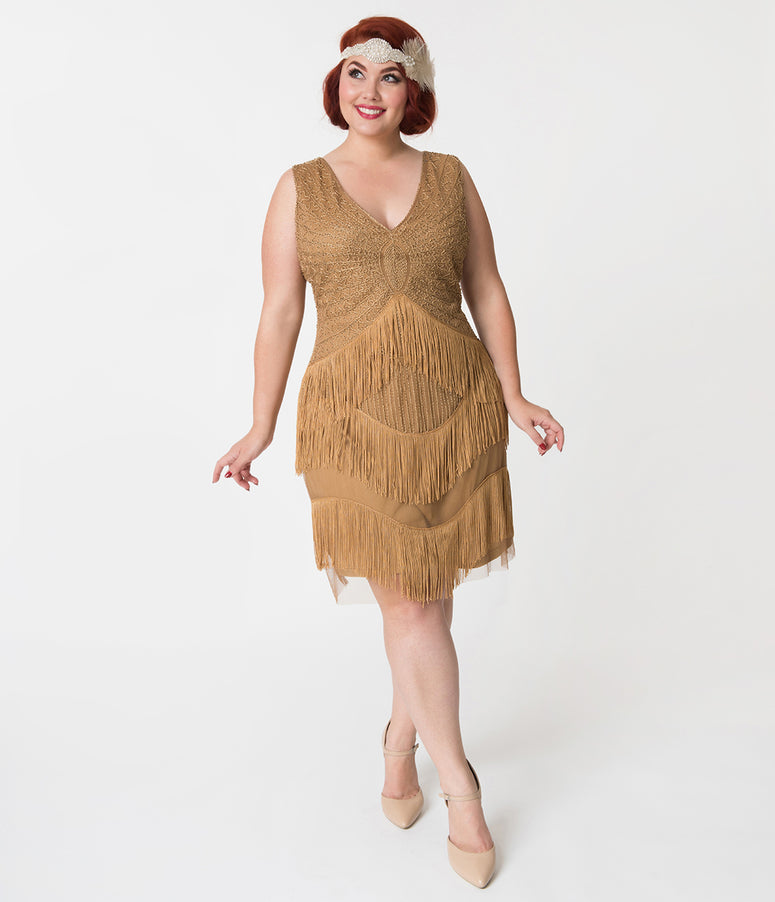 Unique Vintage Plus Size 1920s Antique Gold Beaded Renee Fringe Cocktail Dress