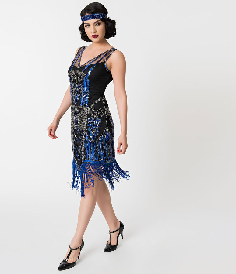 Unique Vintage Black Beaded & Royal Blue Fringe Henriette Flapper Dress