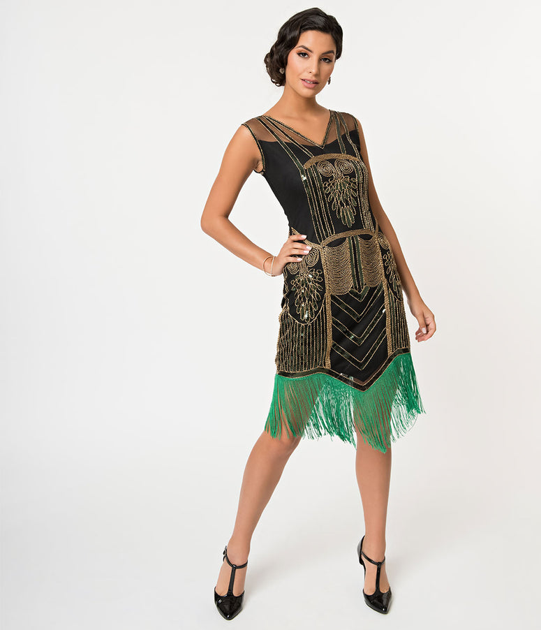 Unique Vintage Black & Gold Beaded & Green Fringe Henriette Flapper Dress