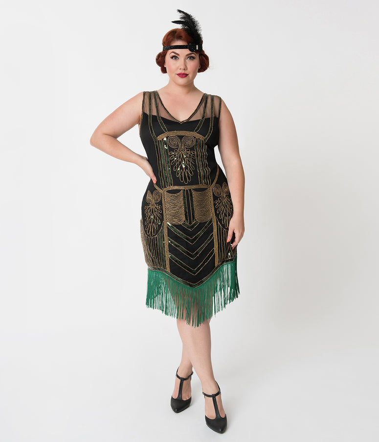 Unique Vintage Plus Size Black & Gold Beaded & Green Fringe Henriette Flapper Dress