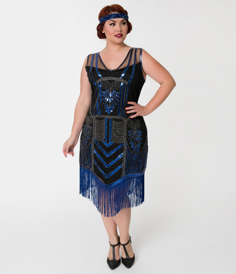 Unique Vintage Plus Size Black Beaded & Royal Blue Fringe Henriette Flapper Dress