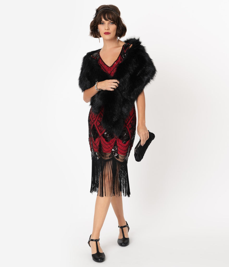 Unique Vintage Red & Black Sequin Lina Fringe Flapper Dress