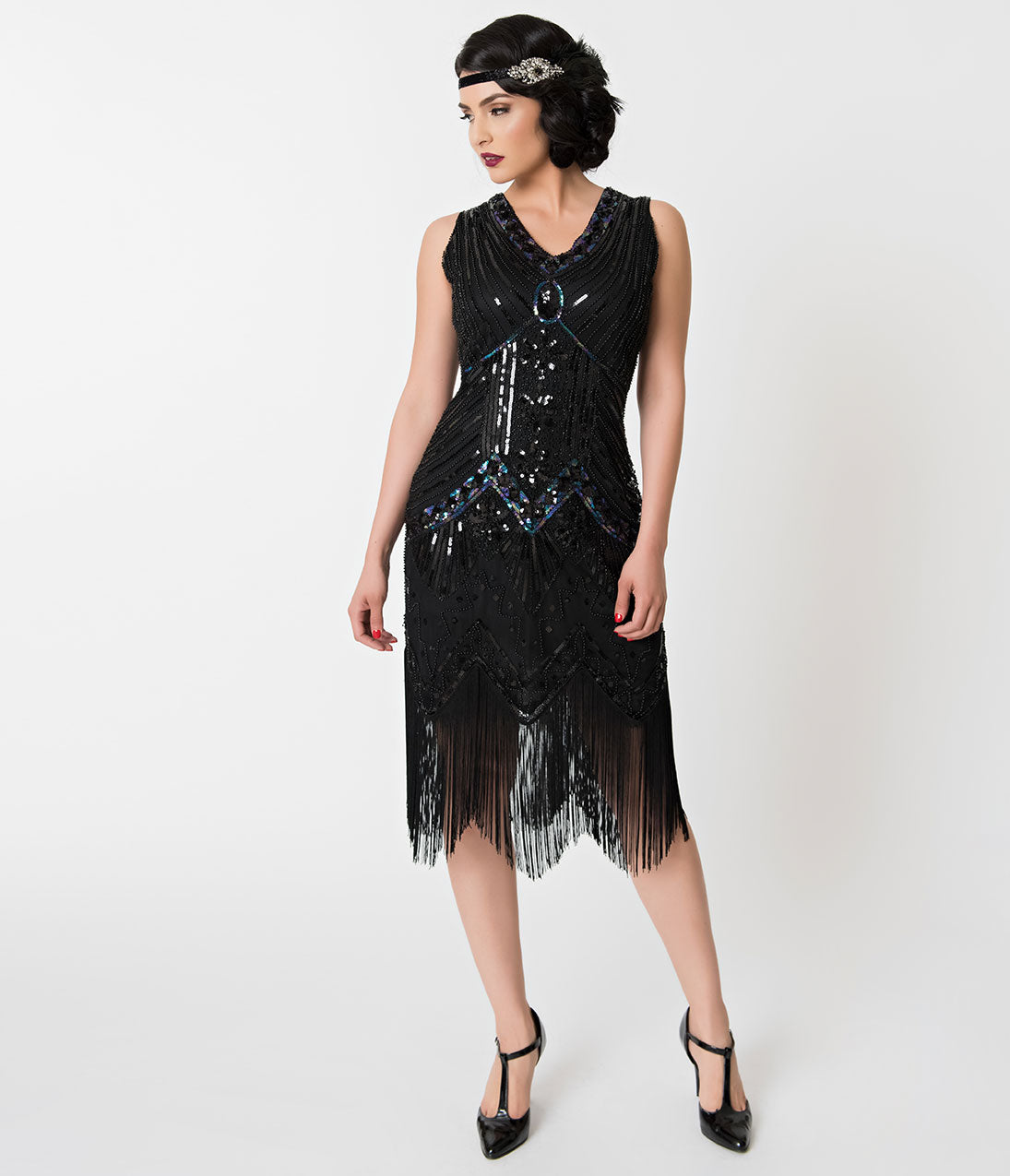 1920s Evening Dresses & Formal Gowns Unique Vintage 1920S Deco Black Iridescent Sequin Veronique Fringe Flapper Dress $51.00 AT vintagedancer.com
