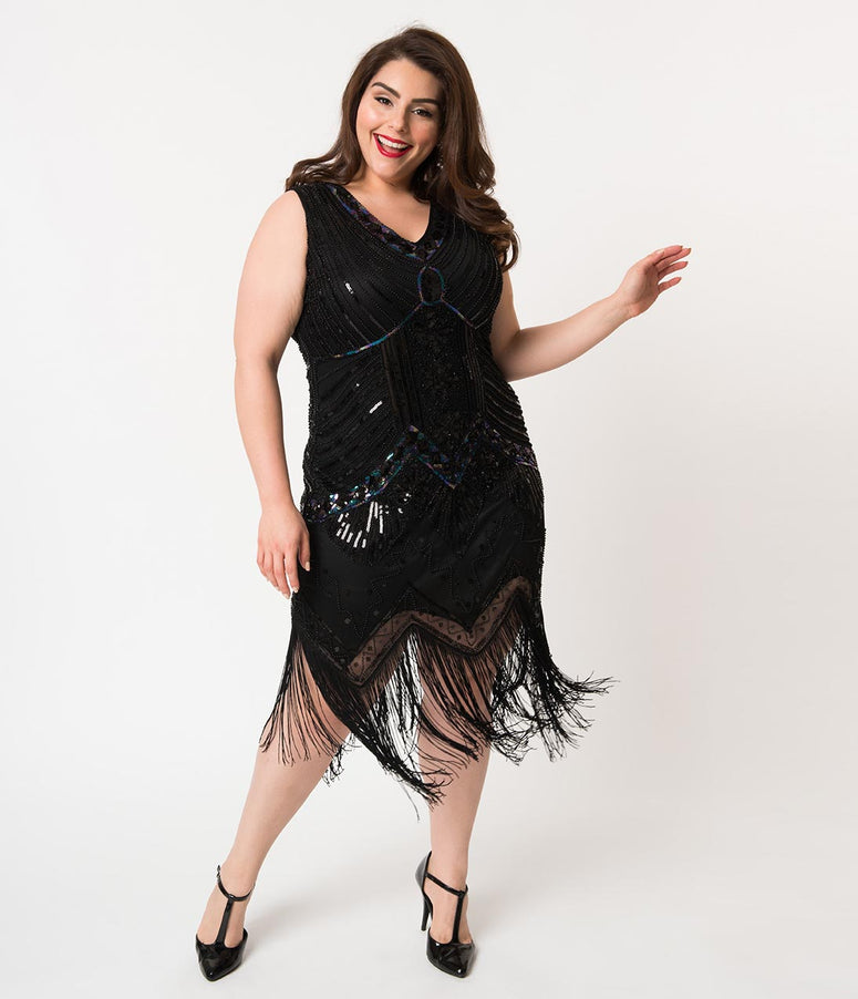 Unique Vintage Plus Size 1920s Veronique Fringe Flapper New Year's Eve Dress
