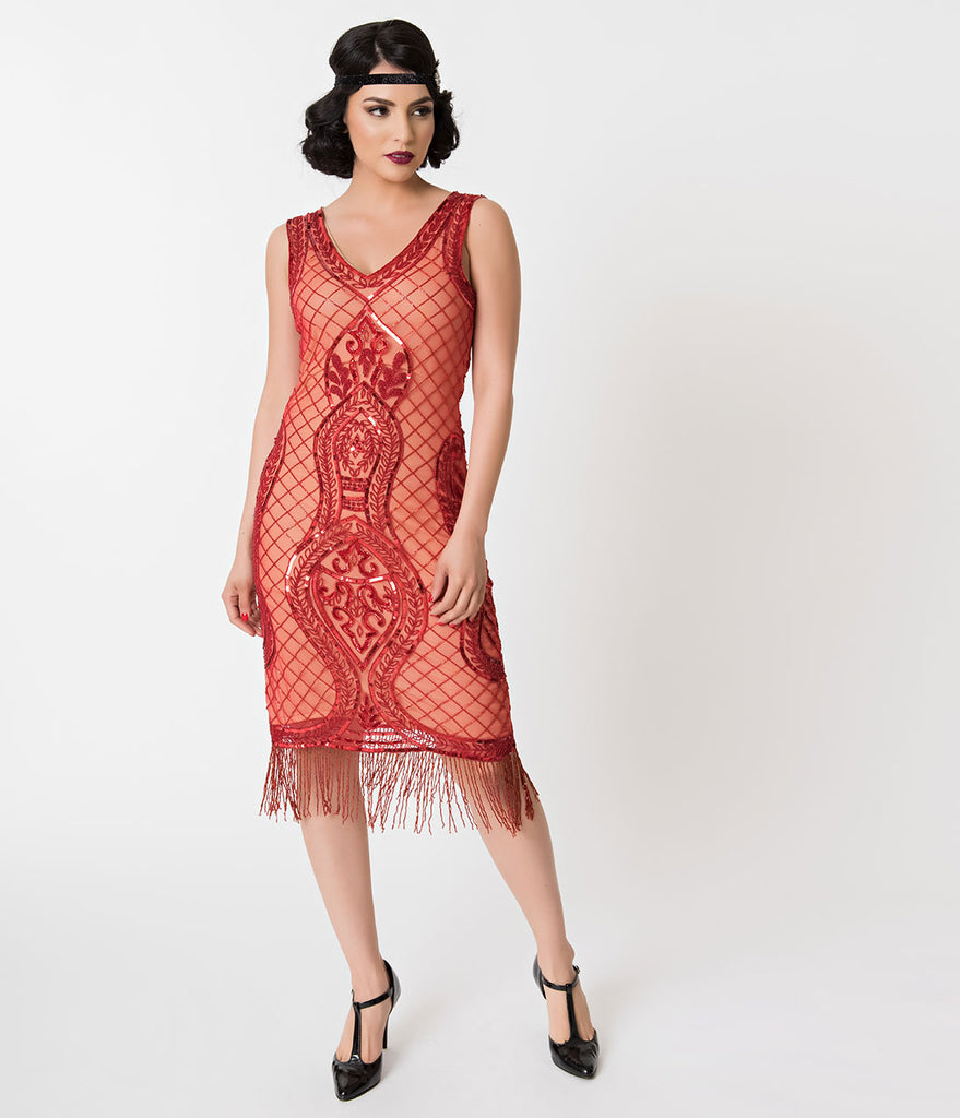 Unique Vintage Red Beaded Lattice & Deco Fringe Salome Flapper Dress