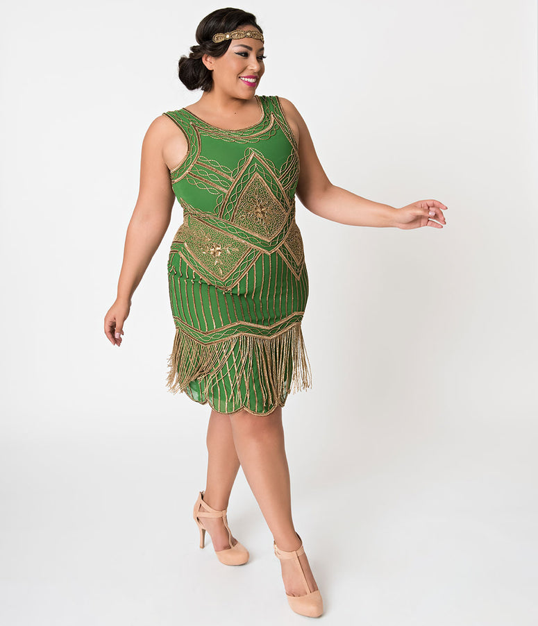 Unique Vintage Plus Size Green & Gold Beaded Fringe Christelle Flapper Dress