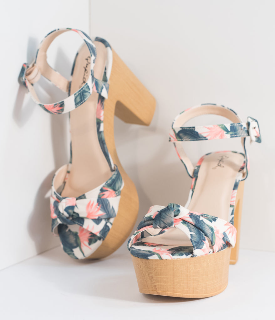 Retro Style Green & Coral Tropical Print Platform Heels