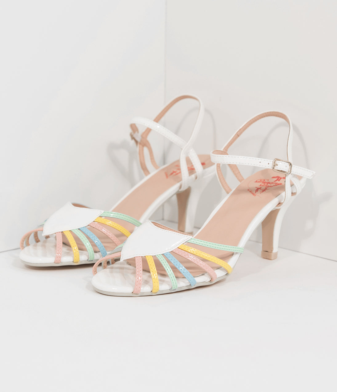 1950s Style Shoes White  Rainbow Strappy Leatherette Peep Toe Heels $66.00 AT vintagedancer.com