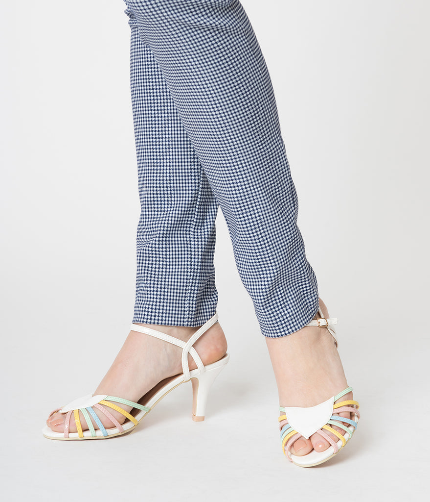 Banned White & Rainbow Strappy Leatherette Peep Toe Heels