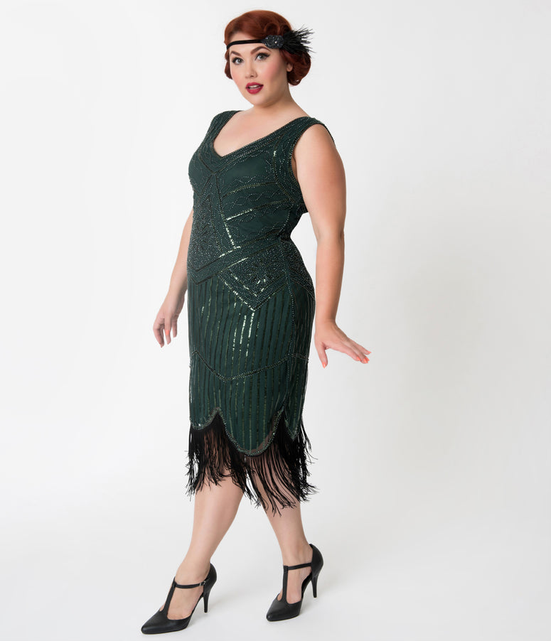 Unique Vintage Plus Size Emerald Green Beaded & Fringe Leonie Flapper Dress