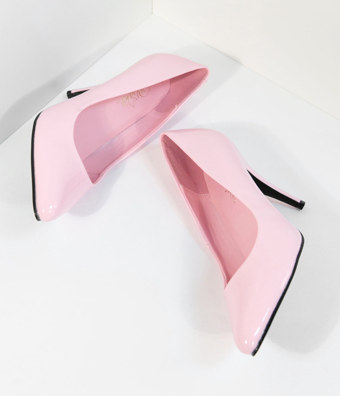 1950s Style Shoes Baby Pink Patent Leatherette Vanity Pumps $44.00 AT vintagedancer.com