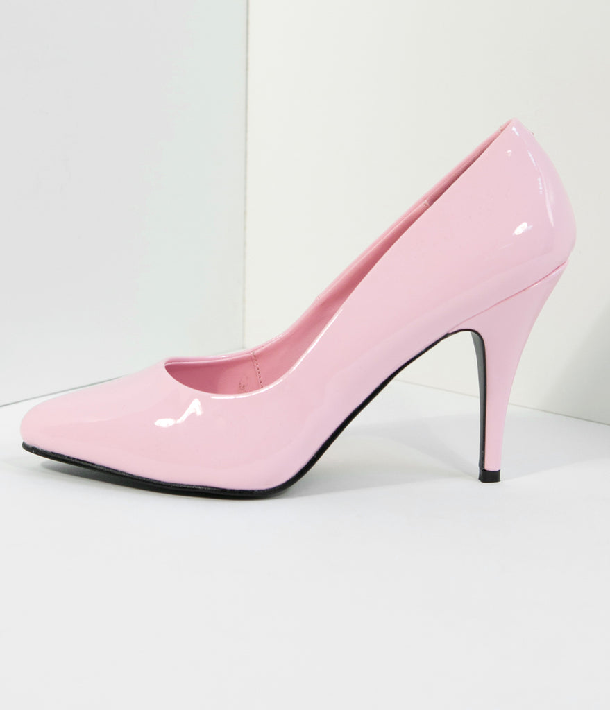 Baby Pink Patent Leatherette Vanity Pumps
