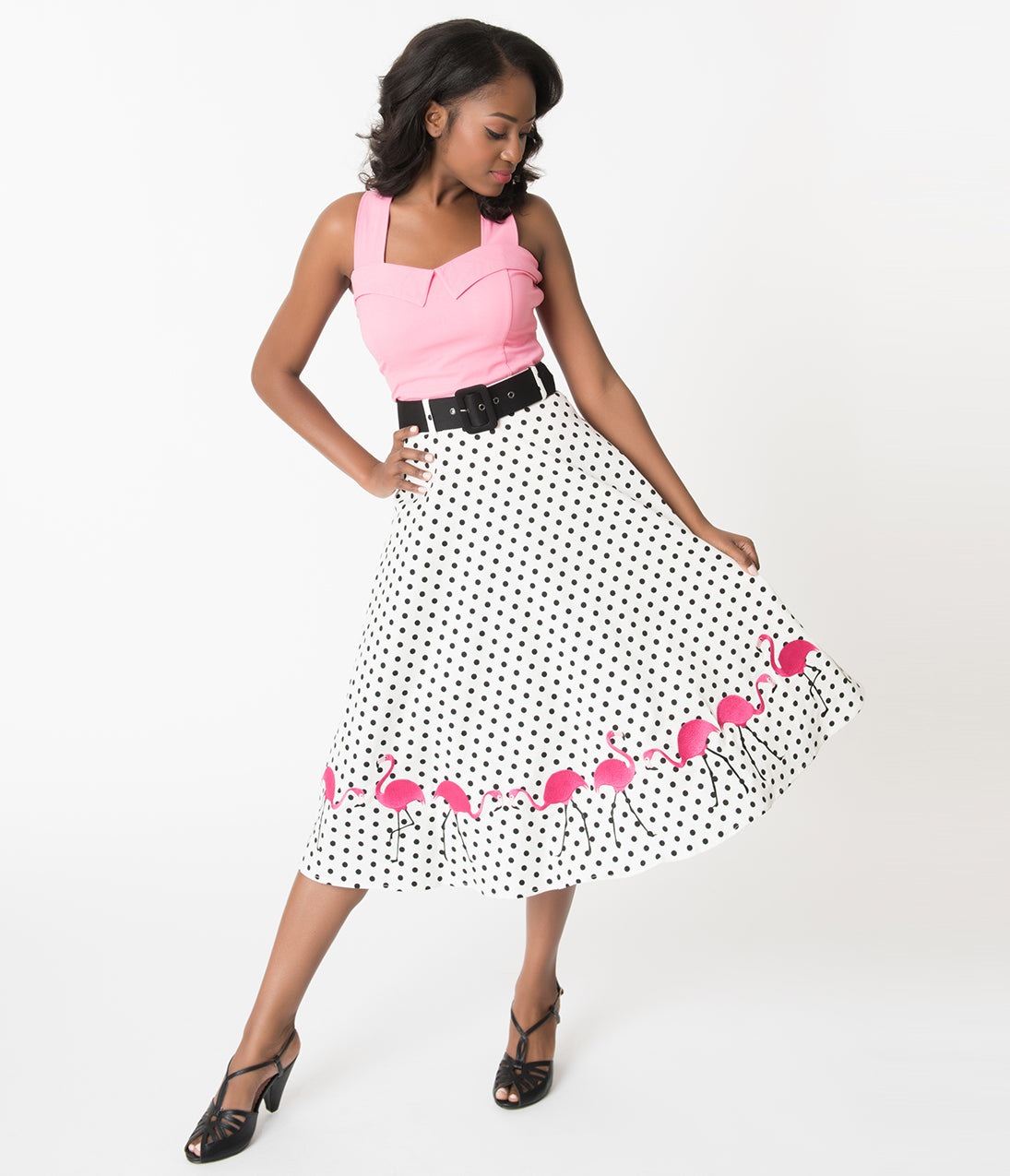 What Did Women Wear in the 1950s? Collectif White  Black Polka Dot Fancy Flamingo Cotton Swing Skirt $68.00 AT vintagedancer.com