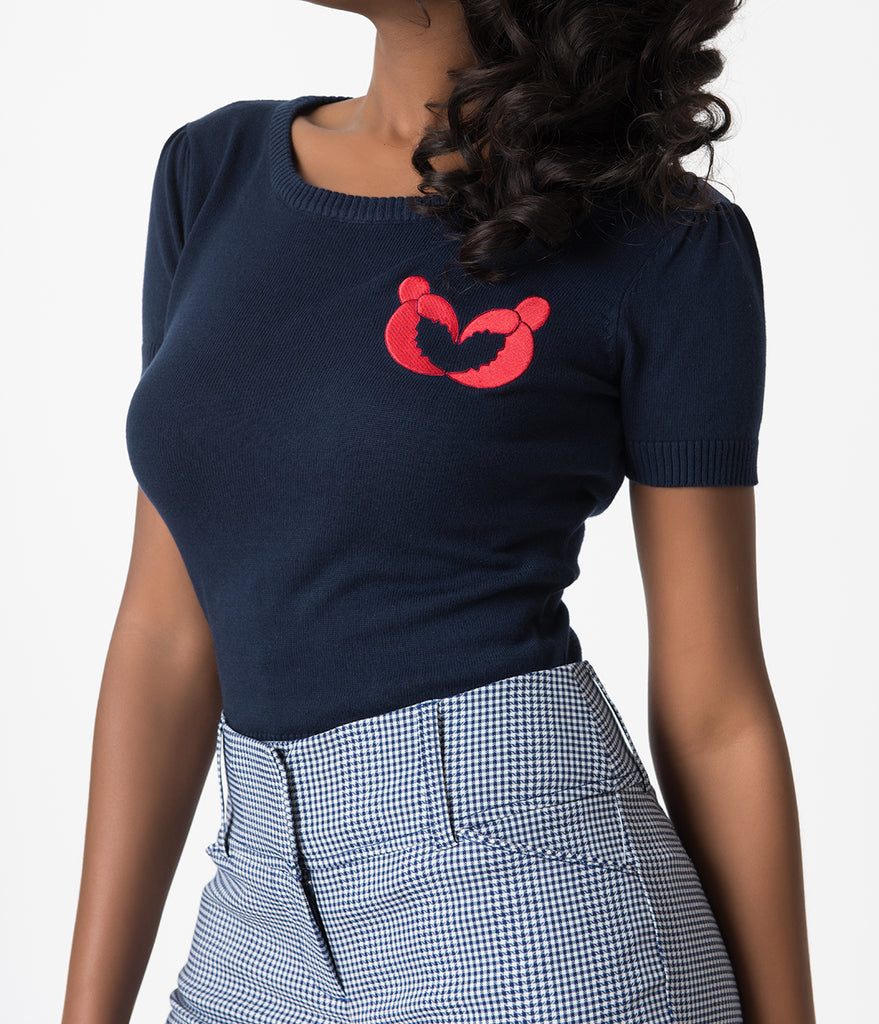 439f9a56c03 ... Collectif Navy Blue Lobster Love Cotton Knit Short Sleeve Libby Top ...