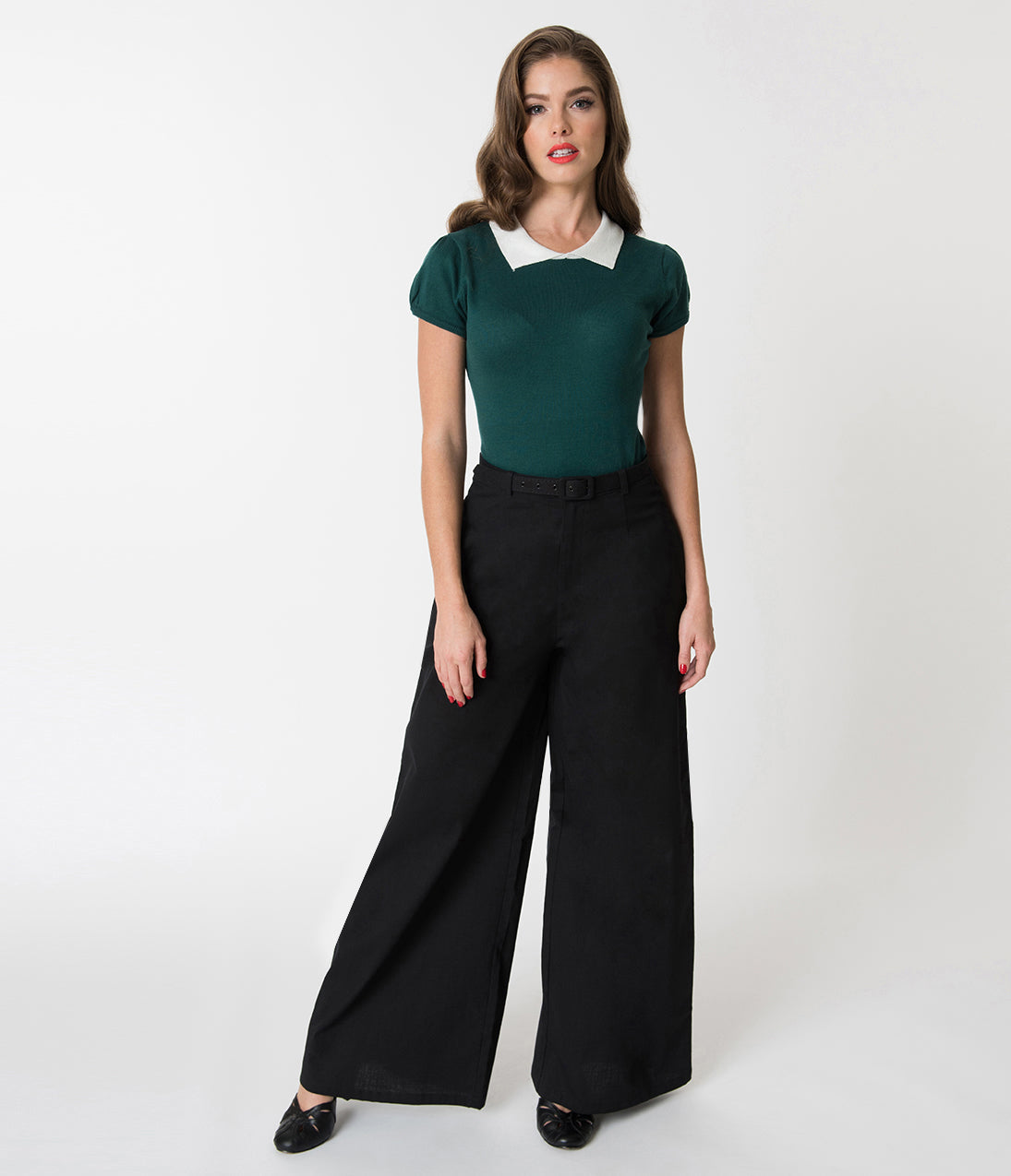 1920s Skirts, Gatsby Skirts, Vintage Pleated Skirts Collectif Black Wide Leg Vicky Cotton Trousers $51.00 AT vintagedancer.com