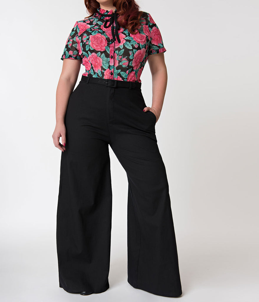 Collectif Plus Size Black Wide Leg Vicky Cotton Trousers