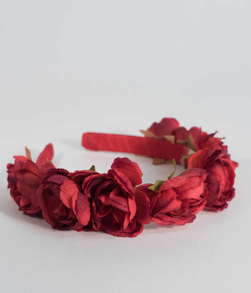 Red Roses Crown Headband