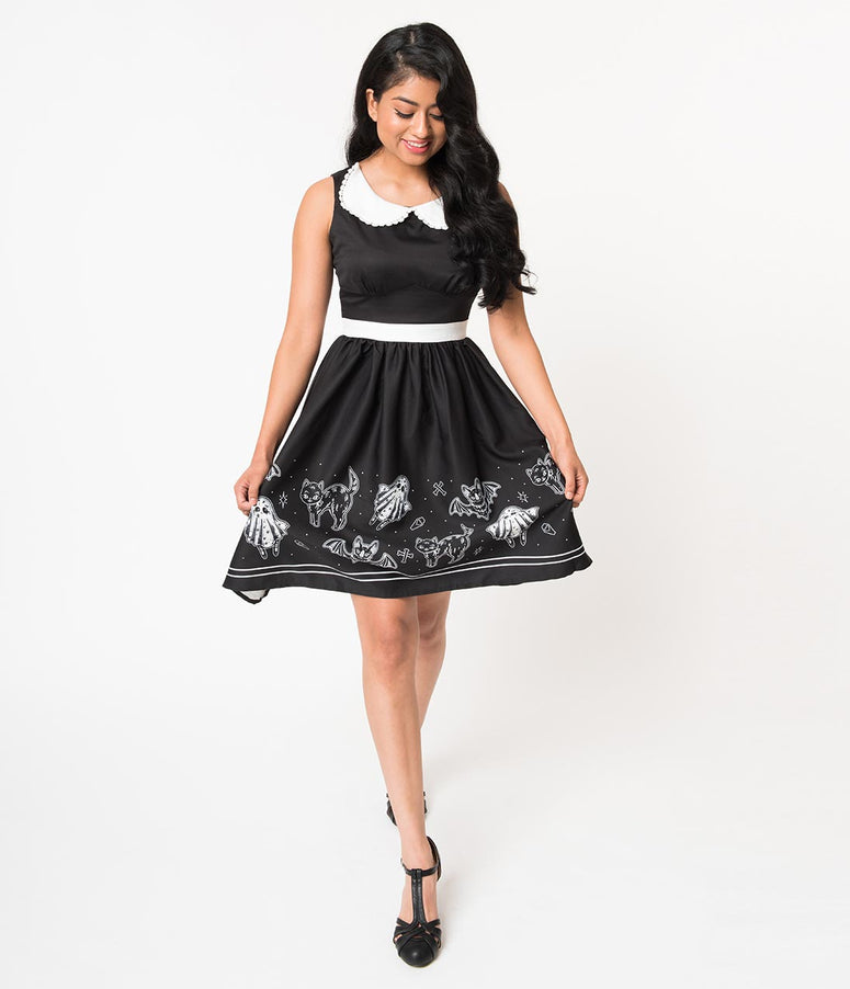 Sourpuss Black So Cute Its Spooky Halloween Flare Dress
