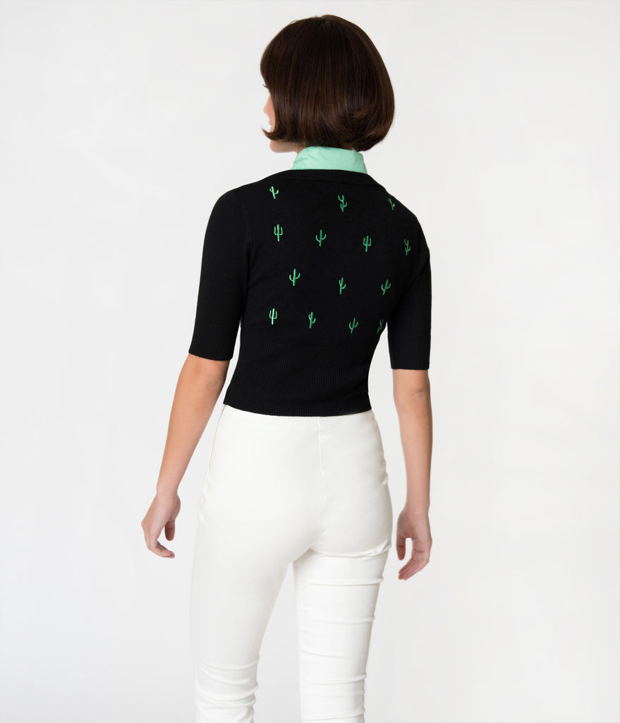 Banned Black & Green Cactus Embroidery Knit Button Up Cardigan