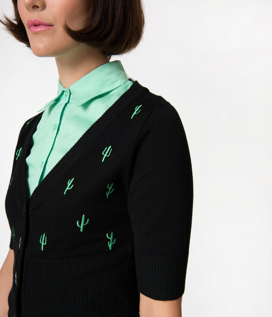Black & Green Cactus Embroidery Knit Button Up Cardigan
