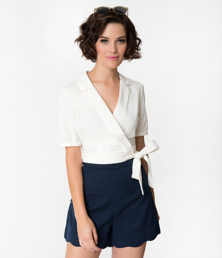 Banned Off White Happy Days Cropped Short Sleeve Tie Wrap Blouse