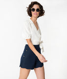 Off White Happy Days Cropped Short Sleeve Tie Wrap Blouse