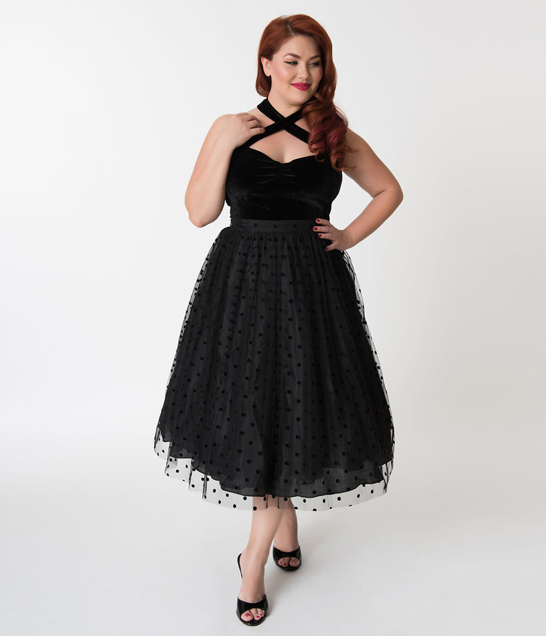 1950s Plus Size Fashion & Clothing History 1950S Style Plus Size Black Velvet Polka Dot Mesh Skirt $52.00 AT vintagedancer.com