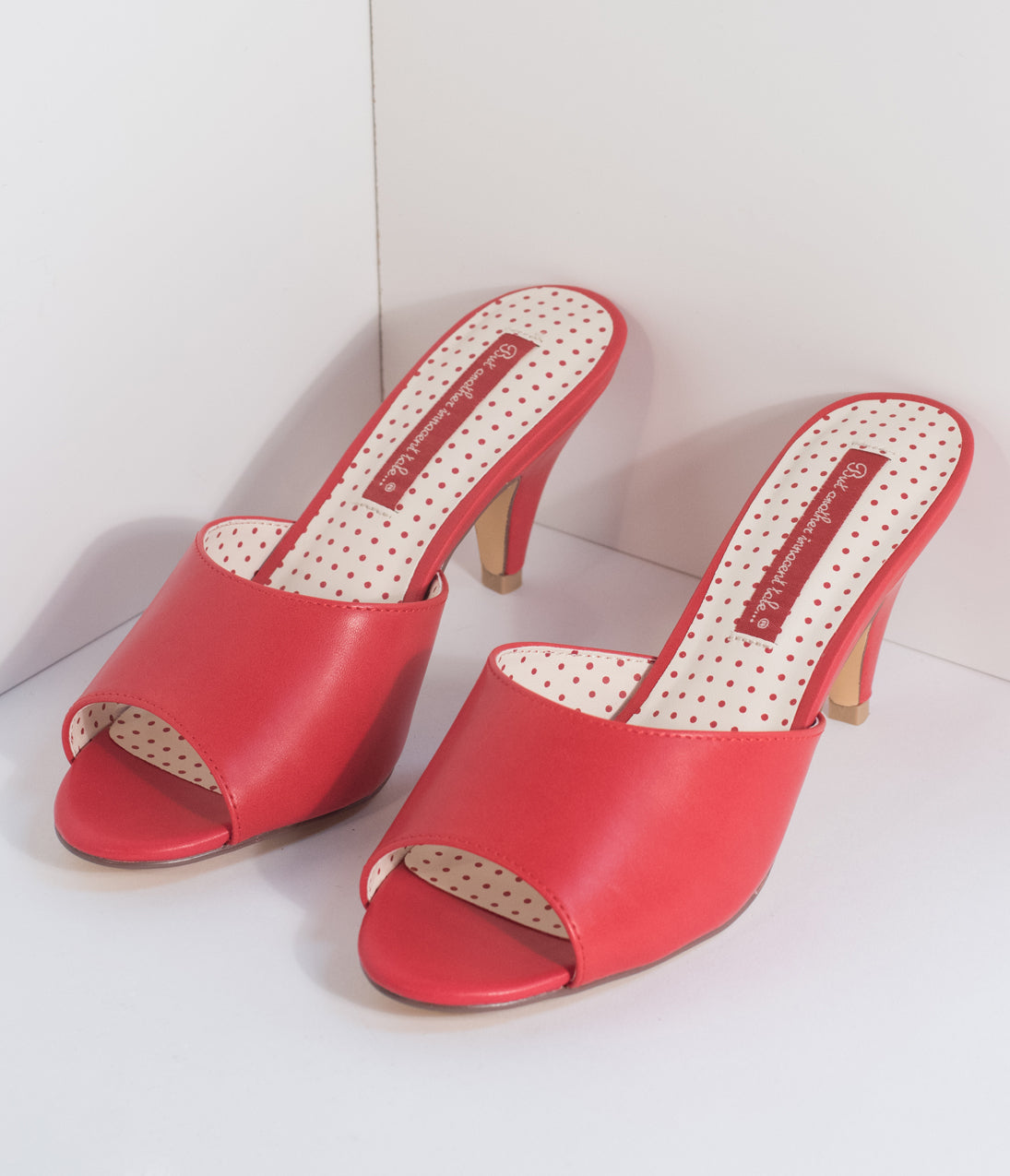 1950s Style Shoes B.a.i.t. 1950S Red Leatherette Peep Toe Slipper Hindy Heels $70.00 AT vintagedancer.com